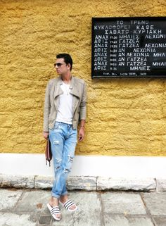 new post, stylentonic, blog, look of the day, leather biker jacket and ripped jeans by Zara, Tee by Sandro, leather pouch by Balenciaga, aviators by Dolce & Gabbana, handmade eye bracelet by Zoe Kompitsi, vintage gold pendant, adilette slides by adidas, menswear, men's fashion, street style