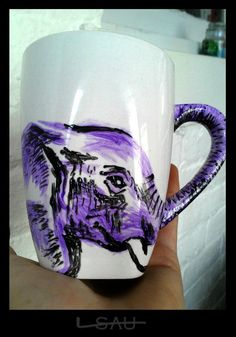 Items similar to Elephant Mug on Etsy Elephant World, Elephant Mugs, Elephant Love, Elephant Art, Elephant Gifts, Elephant Stuff, Purple Elephant, All About Elephants, Elephants Never Forget