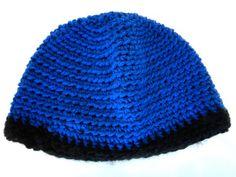 Mens Beanie Hat Blue Black Crochet Adult by PreciousBowtique, $10.00