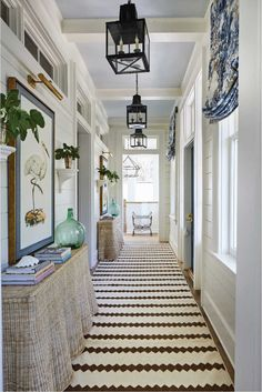 Details to Notice: 2019 Southern Living Idea House - Emily A. Clark Details to Notice: 2019 Southern Living Idea House – Emily A. Halls, Southern Living Homes, Southern Style Homes, Southern Home Decorating, Entry Hallway, Entry Way Rugs, Hallway Console, Hallway Walls, Console Cabinet