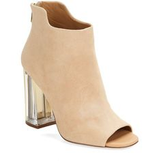 Calvin Klein Lulah Suede Peep Toe Booties (245 CAD) ❤ liked on Polyvore featuring shoes, boots, ankle booties, blush, suede leather boots, back zip boots, back zipper boots, peep-toe ankle booties and peep-toe booties