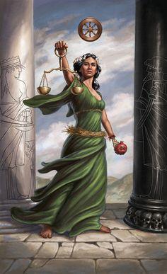 Justice. Modern Spellcaster`s Tarot on virtual-fortune-teller.com