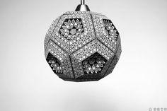 Paper lampshade. Dodecahedron Aztec. Pdf por ZETAestudiotaller