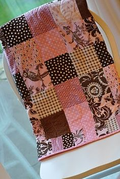PLEASANT HOME: Pink and Brown Baby Quilt