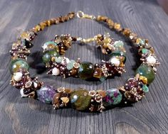Stone jewelry\Gift for woman\Gemstone jewelry set\Tiger eye\Ruby Zoisite\Pearl\Agate\Brown\Olive stone gift jewelry set\Bridesmaid Jewelry Boho Jewelry, Jewelry Art, Gemstone Jewelry, Jewelry Gifts, Jewelry Ideas, Beaded Jewelry, Bead Jewellery, Beaded Necklace, Necklaces
