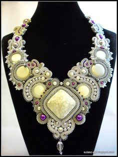 Silver-gray soutache big necklace