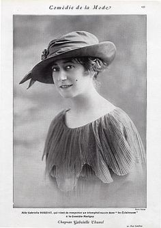 #Chanel (Millinery) 1913 #GabrielleDorziat - Chapeau Gabrielle Chanel <3 this
