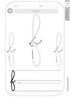 la lettre f au CP:FICHES d'ECRITURE. Modèles d'écriture