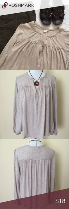 "GAP Long Sleeve Top Super soft and comfortable - oatmeal color - tab neck with pleated detail - elastic cuffs - great condition - Bust 46"" - Length 27"" GAP Tops"