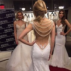 Open back lace dress with draping pearls and floral detail Beautiful Wedding Gowns, Perfect Wedding, Beautiful Dresses, Dream Wedding, House Of Brides, Dress Hairstyles, Bridal Hairstyles, Yes To The Dress, Formal Dresses