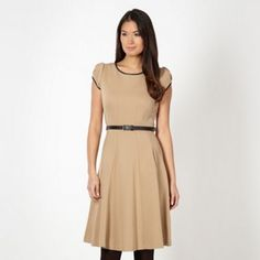 Designer camel belted skater dress at debenhams.com  Add fur and accessories for 1940s blitz!