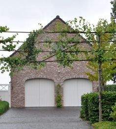 garage and 'floating' espalier' design element. Could do this above fence line aswell to create more privacy.