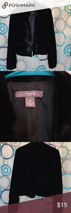 Apt 9 jacket black velvet size 12 Jacket black good for the holidays size 12 Apt. 9 Jackets & Coats
