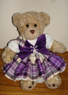 Teddy bear in aboyne with purple vest :-) #mackellar #purple #tartan
