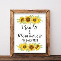 Sunflower Themed Kitchen, Sunflower Wall Decor, Lemon Kitchen Decor, Farmhouse Kitchen Decor, Kitchen Country, Primitive Kitchen, Kitchen Wall Art, Home Decor Wall Art, Watercolor Sunflower