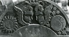 Soul effigies with sun and moon, historic New England gravestone, photo part of the Ludwig collection