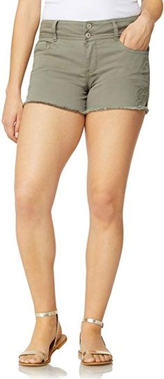 a0b283976c Amazon.com: WallFlower Women's Juniors Colored Luscious Curvy Frayed Shorts  in Mojito, 13: Clothing