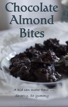 You'll love this - a kid can do it - almond chocolate bites recipe. These gluten-free, paleo, primal snacks are easy to make, yummy and only need two ingredients. www.songbirdblog.com