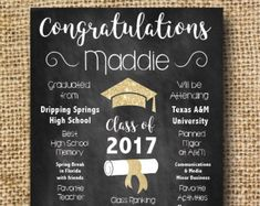 Graduation Party Sign- Chalkboard with Gold Sparkles- Printable File with Customization- Party Invite for Grad Invitation Ideas, Party Invitations, Graduation Tassel, Graduation Decorations, Book Themes, Party Signs, Grad Parties, Chalk Board, Keepsakes