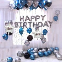 Accessories Happy Birthday Silver (13 Letter)Foil+ 2 Star Foil (10 Inchs)(Silver)+ 30 pcs Balloons (Silver, Blue,Black) Material: Latex  Size: 16 in Description: It Has 1 Piece Of 13 Letter Happy Birthday Foil Balloon With 2 Star Foil (10 in) & 30 Pieces Of Metallic Balloons Country of Origin: India Sizes Available: Free Size   Catalog Rating: ★4.1 (13599)  Catalog Name: Essential Beautiful Happy Birthday Foil Balloons CatalogID_817882 C127-SC1621 Code: 792-5482764-096