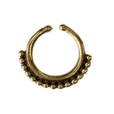 Fake-faux-ornate-brass-beaded-SEPTUM-RING-45-gold-nose-gold-hang-clip-piercing