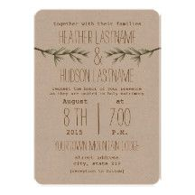 A simple rustic outdoors wedding invitation featuring an illustration of two evergreen branches.  Text is brown.