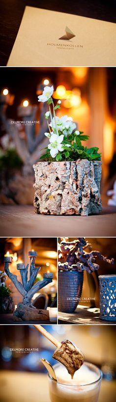rustic tree trunk vases #DIY #greenliving #vase Wedding Events, Our Wedding, Wedding Ideas, Weddings, Norwegian Wedding, Fairytale Cottage, Yule Log, Decorating Ideas, Craft Ideas