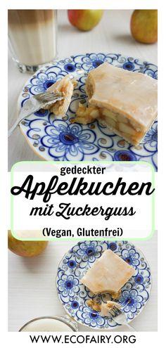covered apple cake with frosting (vegan, gluten-free)- gedeckter Apfelkuchen mit Zuckerguss (Vegan, Glutenfrei) covered apple pie with frosting (vegan, gluten-free); Recipe on EcoFairy. Desserts Végétaliens, Brownie Desserts, Apple Desserts, Vegan Gluten Free, Gluten Free Recipes, Vegan Recipes, Cake Recipes, Dessert Sans Gluten, Bon Dessert