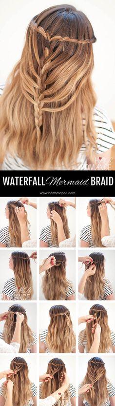 Hair Romance - Waterfall Mermaid Braid Tutorial for Long Hair