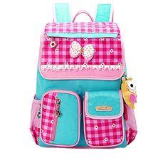Moonwalk Light Cute Sweet Bow Princess Grid Primary School Backpacks Shoulders School Book Bag for Girls Rose GridBlue >>> To view further for this item, visit the image link.