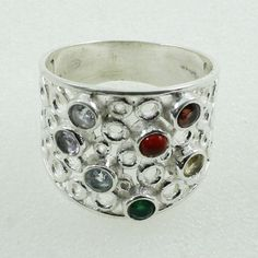 Multi Stone Beautiful Design 925 Sterling Silver Ring by JaipurSilverIndia on Etsy