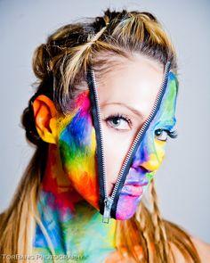 Zippers can be used as face decorations too- Sfx Makeup, Costume Makeup, Makeup Art, Fairy Makeup, Mermaid Makeup, Makeup Ideas, Fashion Photography Poses, Creative Photography, Photography Ideas