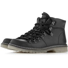 077b22fa74fb Black Leather Hiker Cleated Boots by Topman