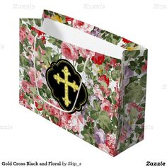 Gold Cross Black and Floral Large Gift Bag
