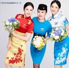 【China】 Xiamen Airlines cabin crew / 厦門航空 客室乗務員 【中国】 Chinese Style, Chinese Fashion, Airline Uniforms, Bridesmaid Dresses, Wedding Dresses, Flight Attendant, Peplum Dress, Work Clothes, Glamour