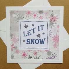 Christmas Song Lyrics Card | Square Christmas Greeting Card |  Let It Snow by Simplistitch on Etsy