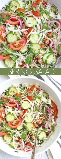 Cucumber tomato salad - This Cabbage Cucumber Tomato Salad is everything you can ask for in a salad It's so easy to make, it is loaded with nutrients and so healthy healthy salad saladrecipe cabbage tomato cucumber Salad Recipes For Dinner, Healthy Recipes, Easy Salads, Healthy Salad Recipes, Vegetarian Recipes, Keto Recipes, Easy Summer Salads, Recipes For Salads, Healthy Salads For Dinner