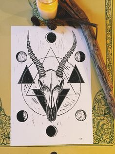 I created a clean image of a gazelle skull with the moon phases. The large circle around the skull represents the new and full moons. The image is printed on 13 x 19 paper. Ray Tattoo, Predator, Outline, Piercings, Tattoo Ideas, Geek Stuff, Skull, Moon, Style Inspiration