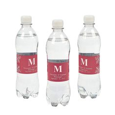 Personalized Monogram Bottle Labels - Red