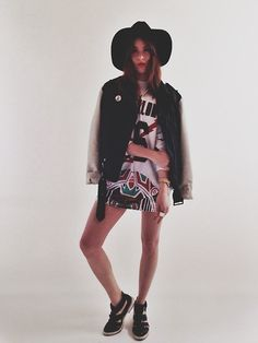 Urban Outfitters Floppy Hat, Urban Outfitters Two Toned Leather Jacket, Babylon Cartel Mens Jersey, River Island Venom Kicks, Dimepiece  Tupac Pin, Gold Chain, Michael Kors Gold Watch, Vintage Ring