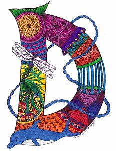 Dancing Dolphin Art Print by Jeanine Noegel. All prints are professionally printed, packaged, and shipped within 3 - 4 business days. Choose from multiple sizes and hundreds of frame and mat options. Doodle Alphabet, Flower Alphabet, Alphabet Fonts, Dolphin Art, Creative Lettering, Thing 1, Doodle Patterns, Illuminated Letters, All Art