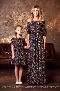 mother daughter matching dress mom and by AugustVanDerWalz on Etsy Mom And Baby Outfits, Mother Daughter Matching Outfits, Mother Daughter Fashion, Mom Daughter, Family Outfits, Girl Outfits, 30 Outfits, Fashion Outfits, Mom Dress