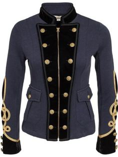 Ralph-Lauren-Denim-Supply-Women-Military-Army-Officer-Band-Jacket-Gold-Embroider
