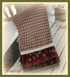***NEW*** Ruffled Farmhouse Hand Towel Pattern-Farmhouse,Country,Hand Towels,t-towels,Kitchen Towels,Towel Pattern,Old Road Primitives,ePatterns,Pa