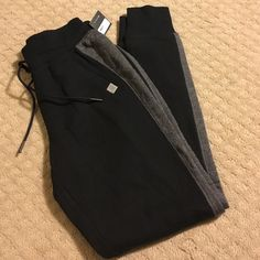 VICTORIA'S SECRET JOGGERS SZ XS VS BLACK CUFFED JOGGERS WITH DRAWSTRING AND GRAY STRIPING SIZE XS NWT Victoria's Secret Pants Track Pants & Joggers
