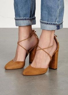 Tendance Chausseurs Femme 2017 Aquazurra brown suede pumps Block heel measures approximately 4 inches/ 100mm Po