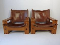 Pair of Generously Scaled Vintage Wood Frame Lounge Chairs with Leather Seat and Backs French, Circa 1970s Seat: 11