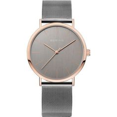 Bering Time - Classic - Unisex Grey & Rose Gold Milanese Mesh Watch... ($139) ❤ liked on Polyvore featuring jewelry, watches, red gold jewelry, pink gold watches, gray watches, unisex watches and dial watches