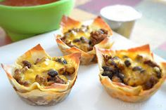 Taco cups with egg roll wrappers!