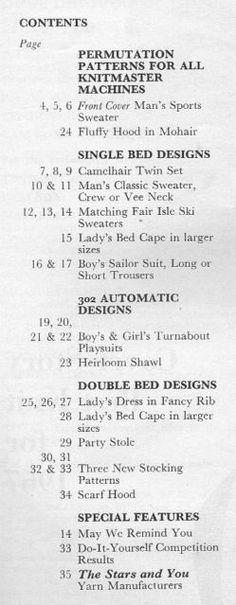 Modern Knitting January 1967 - Contents